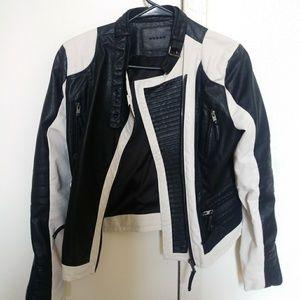 Blank NYC vegan leather two-tone jacket